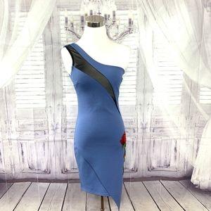 Gibiu Bodycon Off Shoulder Blue Dress Rose Small